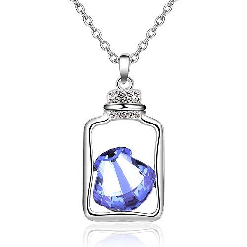 PENG Collar Mujer Plata De Ley 925 Colgante Moda Simpleregalos Navidad Drift Botella Cristal Collar Colgante