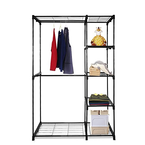 Deluxe Garment Rack (Closet Garment Rack Deluxe Double Rod Closet,Portable Garment Rack with Hanging Rack and 5-Tier Shelves, 44.9''L x 19.1''W x 67.0''H (US STOCK) (Black))
