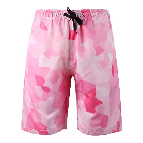 Seaintheson Men's Beach Shorts,Summer Casual Style 3D Printed Shorts Quick Dry Hawaii Sport Pants Pink