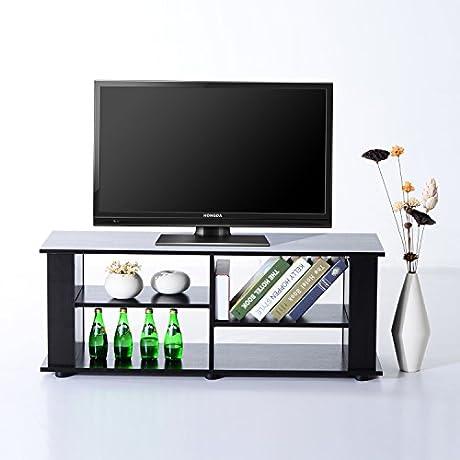 HomCom 48 Modern Open Adjustable Shelf TV Stand Black