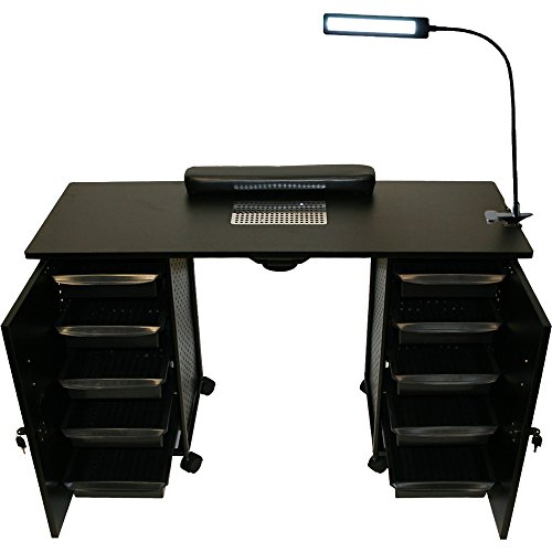 - LCL Beauty Black Steel Vented Double Storage Manicure Nail Table Desk Salon Spa Equipment