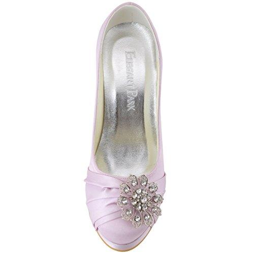 Diamant Bal Talon Lavande Satin Chaussures Bout Ep2015 Elegantpark pf Strass Mariee Escarpins Fleurs Ferme Plateforme De Pumps Boucles Aiguille SWTIWqwv