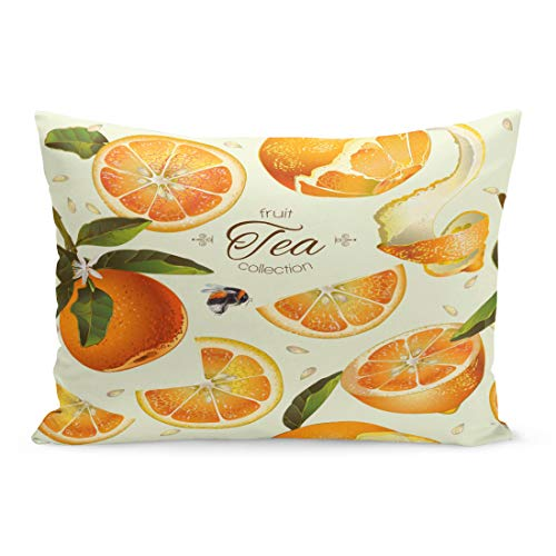 Emvency Throw Pillow Covers Juice Orange Tea for Natural Cosmetics Bakery Filling Grocery Pillow Case Cushion Cover Lumbar Pillowcase Decoration for Couch Sofa Bedding Car Home Decor 20 x 36 inchs from Emvency