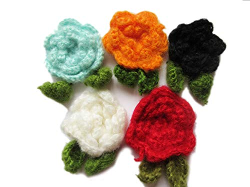 (YYCRAFT 10pcs Large Mohair Crochet Flower with Leafs Applique for Baby Girls Headband Bows Craft and Clothes Hats Sewing Embellishment(4