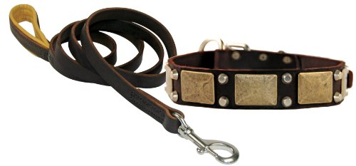 """Dean and Tyler Bundle – One """"The Antique"""" Collar 24-Inch by 1-1/2-Inch With One Matching """"Soft Touch"""" Leash, 6 FT Stainless Steel Snap Hook – Brown"""
