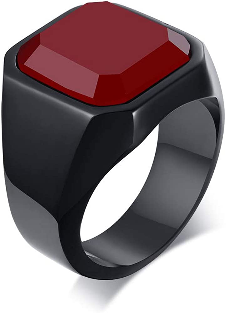 MEALGUET Fashion Stainless Steel Signet Rings with Black Agate for Men,Pinky Ring for Dad Father, Gift for Father's Day