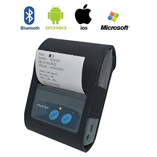 Portable Bluetooth Receipt Printer ,Mini Wireless 58MM Thermal Printer Receipt Ticket for iOS、Android and Windows Systems.With ESC / POS Print Commands Set by Run Mall