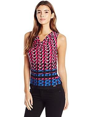 Calvin Klein Women's Petite-Size Matte Jersey Border Print Drape Cami