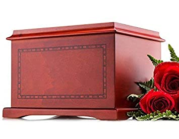 SmartChoice Wood Human Funeral Cremation Urn for Human Ashes Adult Urn Size – Honor Your Beloved One with This Magnificent Wood Urn They Deserve with Border