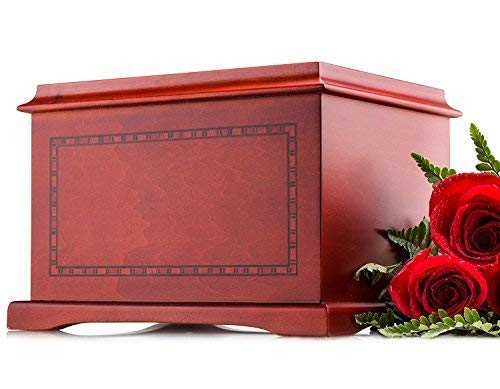 Large Wood Urn - SmartChoice Wood Human Funeral Cremation Urn for Human Ashes Adult Urn Size - Honor Your Beloved One with This Magnificent Wood Urn They Deserve (with Border)