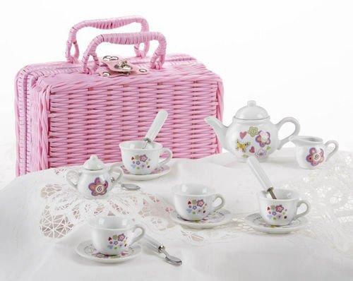 17 Piece Porcelain (Delton Products Flower Design Porcelain Tea Set and Basket (17 Piece), 2.5 by)