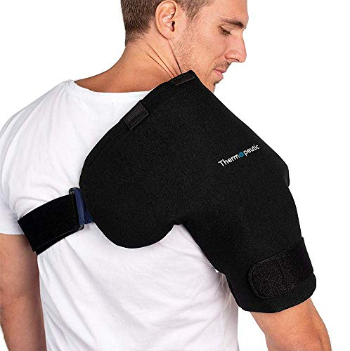 Thermopeutic Shoulder Compression Ice Cold Gel Wrap for Shoulder Injuries (Medium to Large Frame Fit) - Rotator Cuff, Rheumatoid Arthritis, Bursitis, Osteoarthritis,Tendinitis, AC Joint Pain Relief (Shoulder Cold Pack)