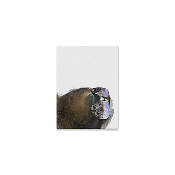 Space Universe Galaxy Cute Sloth Wearing Sunglasses Oil Painting Home Decoration Canvas Prints- 16X12 Inch(One Side) -