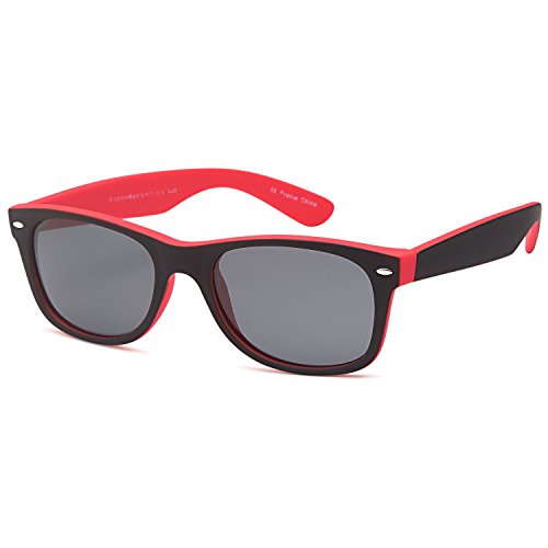 GAMMA RAY CHEATERS Best Value Polarized UV400 Wayfarer Style Sunglasses with Mirror Lens and Multi Pack Options Adult - Gray Lens on Matte Red Frame