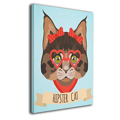 Little Monster Hipster Cat Inner Framed Oil Paintings On Canvas Wall Decorations Funny Art for Boys and Girls Bedroom Bathroom -