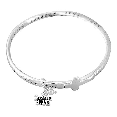 Three Person Group Costume Ideas (God So Loved the World John 3:16 Women's Silver-Plated Hammered Mobius Bangle Charm Bracelet)