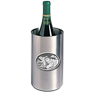 ANIMAL, POLAR BEAR WINE CHILLER, This is a wine chiller made of double-wall insulated stainless steel with a fine pewter logo medallion bonded to the front.