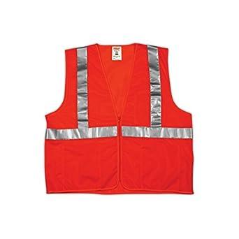 Liberty HiVizGard Polyester All Mesh Class 2 Vest with 2 Wide Silver Reflective Stripes Medium Fluorescent Orange