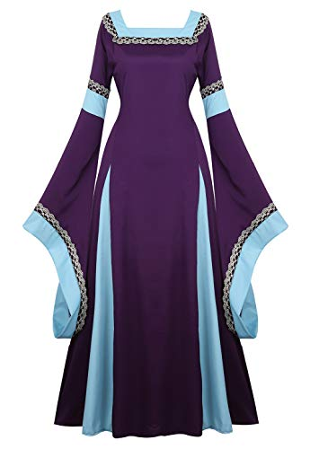 Renaissance Costume Women Medieval Dress Bell Sleeve Lace Up Vintage Retro Long Dress Halloween Cosplay Costumes, Purple, X-Large -