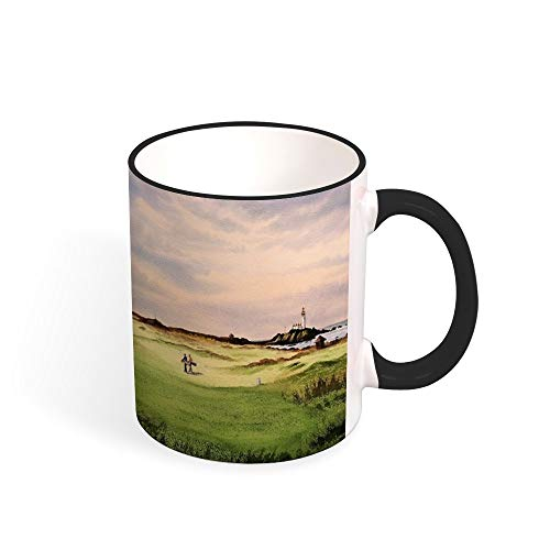 Turnberry Golf Course 12Th Tee Two Tone Mug, 11 oz, Black/White ()