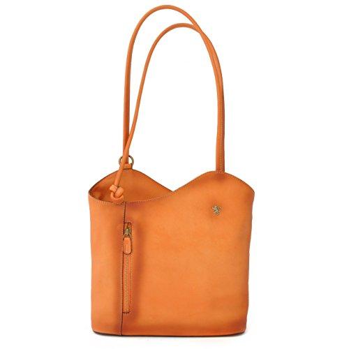Pratesi Womens Italian Leather Consuma Backpack Convertible Shoulder Tote Bag in Orange