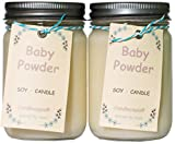 Candlecopia Baby Powder Strongly Scented Hand Poured Premium Soy Candles, 12 Ounce Pewter Lid Canning Jar x 2-Pack