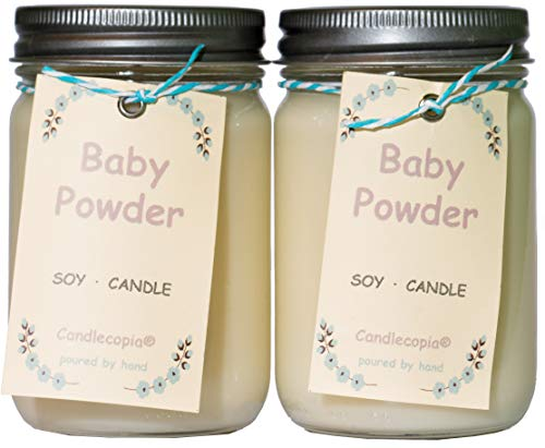 Candlecopia Baby Powder Strongly Scented Hand Poured Premium Soy Candles, 12 Ounce Pewter Lid Canning Jar x 2-Pack by Candlecopia