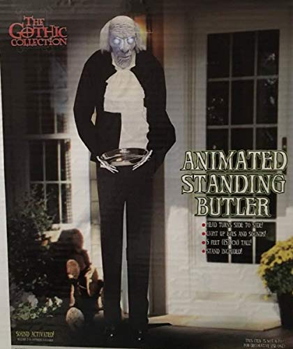 ghi Lifesize Animated Standing Butler Holding Candy Tray Halloween Decoration ()