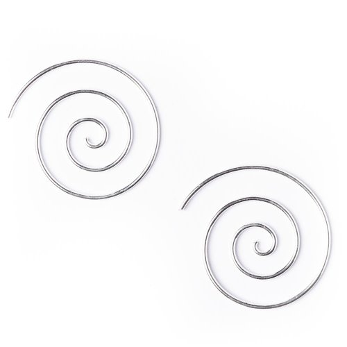 (81stgeneration Women's .925 Sterling Silver Spiral 25 mm Spiral 18 Gauge Wire Tribal Earrings )