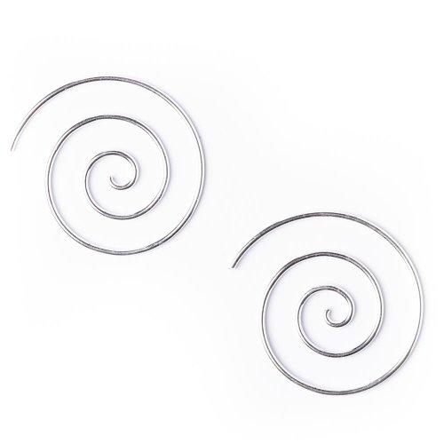 81stgeneration Women's .925 Sterling Silver Spiral 25 mm Spiral 18 Gauge Wire Tribal (Silver Spiral Earrings)