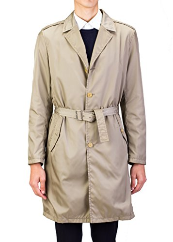 Prada Men's Notched Lapel Nylon Vintage Trench Coat Jacket Beige (Nylon Vintage Coat)