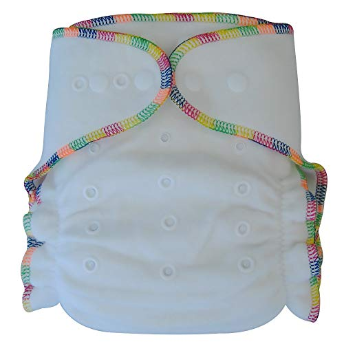 Fitted Cloth Diaper: Overnight Diaper with 2 Cotton Bamboo Inserts, One Size with Snap Buttons (1-pack) ()