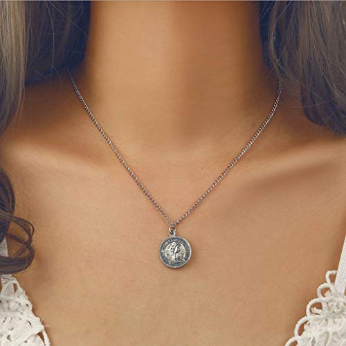Yalice Vintage Round Coin Pendant Necklace Face Medallion Necklaces Jewelry for Women and ()