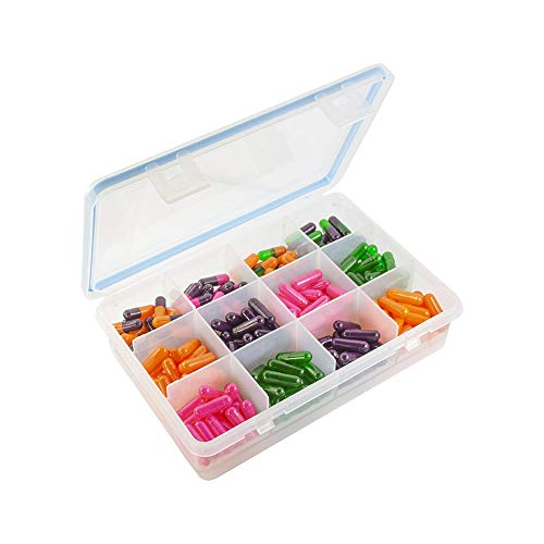 GMS 12 Compartment Travel and Storage Pill Organizer - Durable BPA-Free Spill-Proof Plastic, with Small and Large Compartments Moisture-Proof Silicone Seal Design and Clear Display for Easy Removal