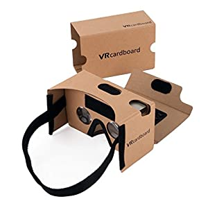 Google Cardboard,Elizza 3D VR Virtual Reality DIY Glasses with head Strap Forehead Pad Nose Pad Sucker Compatible with Android & Apple Up to 6 Inch Easy Setup Machine