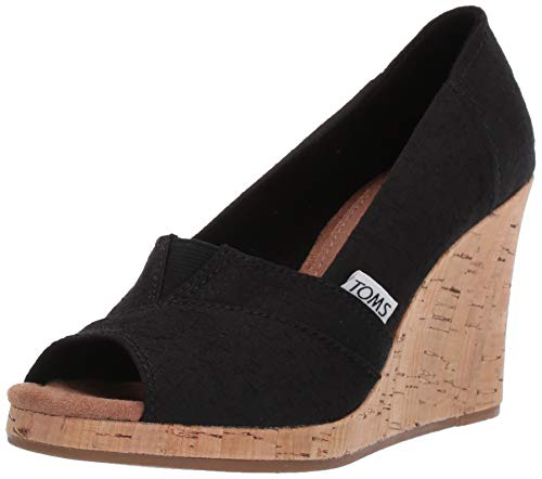 TOMS Women's Classic Espadrille Wedge Sandal, Black Scattered Woven, 8.5 B Medium ()