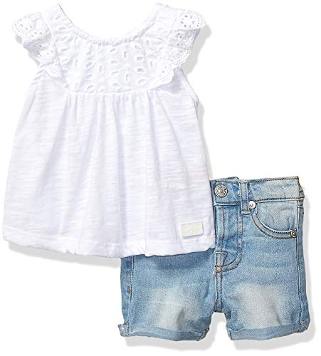 7 For All Mankind Kids Baby Girls Sleeve Jersey Fashion Top and Denim Short Set, White/Medium Wash, 24M