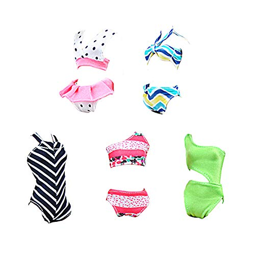 E-TING 10Pcs =5 Sets Beach Bikini Swimsuit Bathing Doll Clothes One-Piece Swimwear with 5 Pairs Shoes for 11.5 Inch Girl Dolls (Style A)