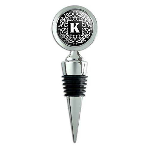 Letter K Initial Black White Scrolls Wine Bottle Stopper ()