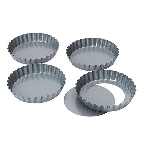 Bakers Pride Bakers Pride - Set Of 4 Mini Quiche / Tartlet Tins With Loose Base - 12Cm (Pack of 4)
