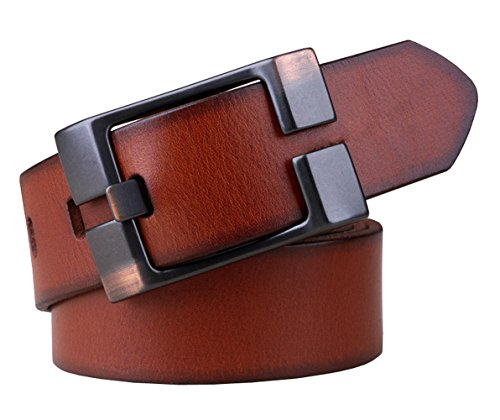 Capplue Casual Square Pin Buckle Mens Belts Full Grain Leather Belt Brown Belt ()