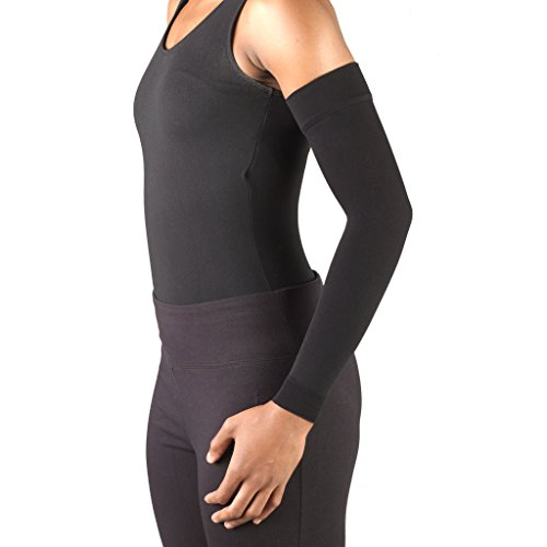 Truform Lymphedema Arm Sleeve, 20-30 mmHg Compression, Women's Post Surgical Garment, Mastectomy Swelling Management, Soft Microfiber, Medical Grade Support, Black, Small by Truform