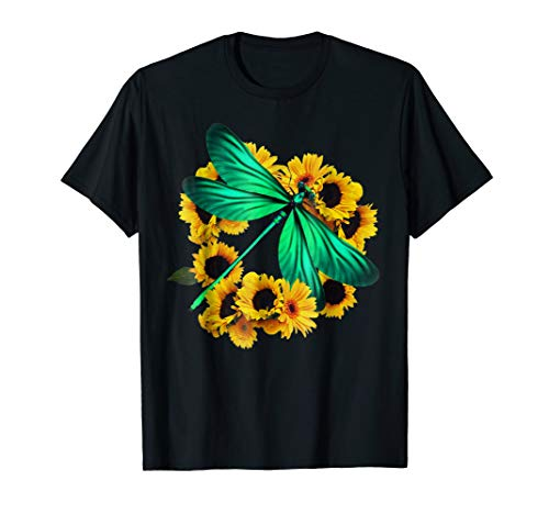 Sunflower and Dragonfly T Shirt