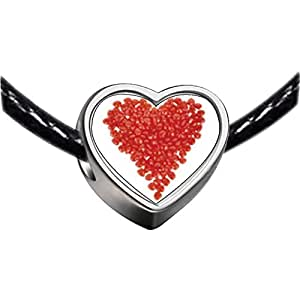 Chicforest Silver Plated Red Hots Heart Photo Heart Charm Beads Fits Pandora Chamilia Biagi Charm Bracelet