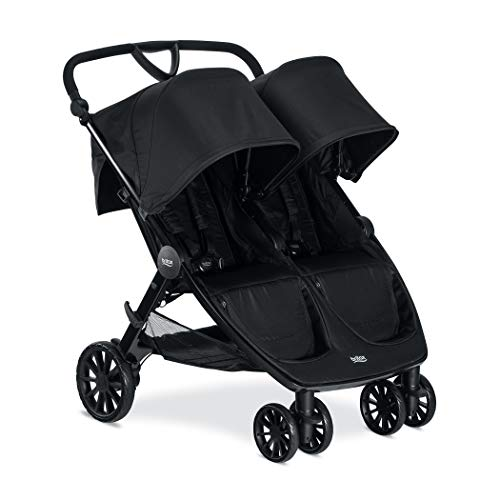 Britax B-Lively Double Stroller - Up to 100 pounds - Car Seat Compatible - UV 50+ Canopy - Adjustable Handlebar - Easy Fold, Raven