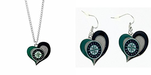 Officially Licensed Swirl Heart Necklace and Earring Set Seattle Mariners
