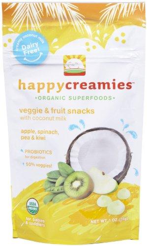 Creamy Spinach (Happy Baby happy creamies Veggie & Fruit Snacks - Apple Spinach Pea Kiwi - 1 oz)