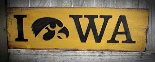 - PotteLove Iowa Hawkeye Wood Sign with Tigerhawk College Christmas Man Cave Decor