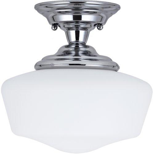 11 1/2' Ceiling Pendant (Sea Gull Lighting 77436-05 Academy One-Light Semi-Flush Mount Ceiling Light with Satin White Glass, Chrome Finish)