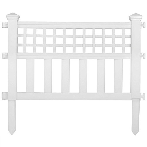 Suncast Grand View 6-PACK Stylish Garden Border Fence in White, Made of Durable Resin